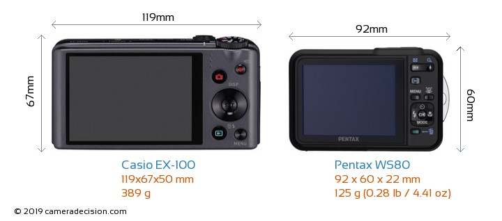 Casio EX-100 vs Pentax WS80 Camera Size Comparison - Back View