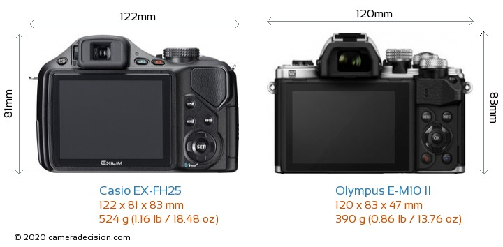 Casio EX-FH25 vs Olympus E-M10 II Camera Size Comparison - Back View