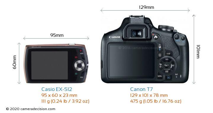 Casio EX-S12 vs Canon T7 Camera Size Comparison - Back View