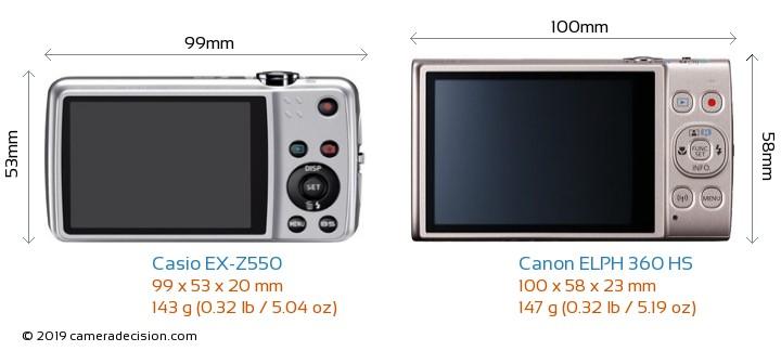 Casio EX-Z550 vs Canon ELPH 360 HS Camera Size Comparison - Back View