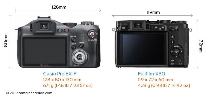 Casio Pro EX-F1 vs Fujifilm X30 Camera Size Comparison - Back View