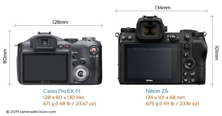 Casio Pro EX-F1 vs Nikon Z6 Camera Size Comparison - Back View