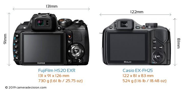 FujiFilm HS20 EXR vs Casio EX-FH25 Camera Size Comparison - Back View
