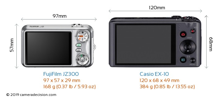 FujiFilm JZ300 vs Casio EX-10 Camera Size Comparison - Back View