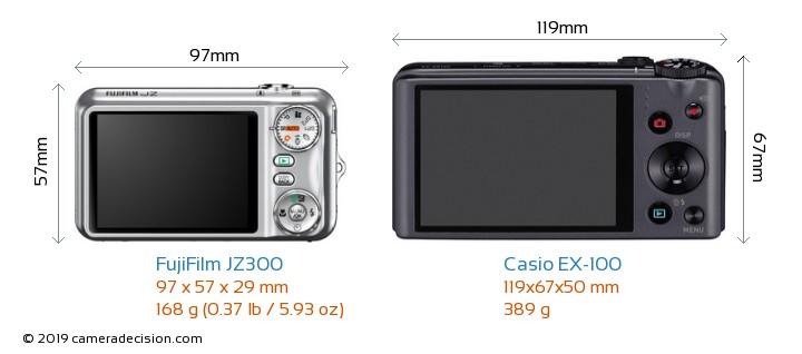 FujiFilm JZ300 vs Casio EX-100 Camera Size Comparison - Back View