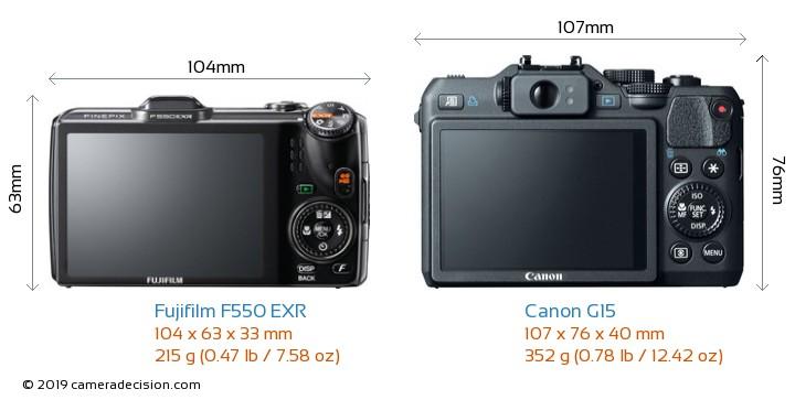 Fujifilm F550 EXR vs Canon G15 Camera Size Comparison - Back View