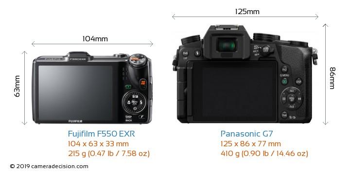 Fujifilm F550 EXR vs Panasonic G7 Camera Size Comparison - Back View