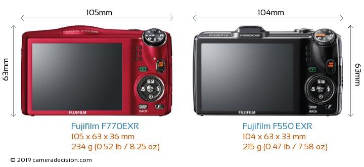 Fujifilm F770EXR vs Fujifilm F550 EXR Camera Size Comparison - Back View