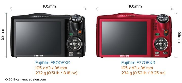 Fujifilm F800EXR vs Fujifilm F770EXR Camera Size Comparison - Back View