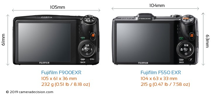 Fujifilm F900EXR vs Fujifilm F550 EXR Camera Size Comparison - Back View
