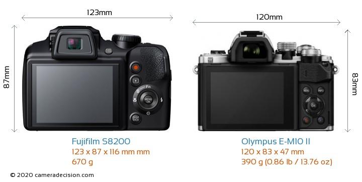 Fujifilm S8200 vs Olympus E-M10 II Camera Size Comparison - Back View
