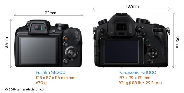 Fujifilm S8200 vs Panasonic FZ1000 Camera Size Comparison - Back View