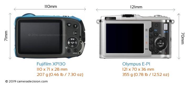 Fujifilm XP130 vs Olympus E-P1 Camera Size Comparison - Back View