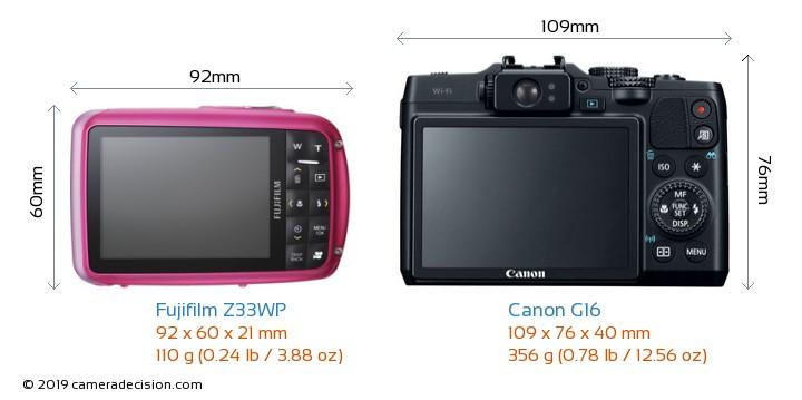 Fujifilm Z33WP vs Canon G16 Camera Size Comparison - Back View