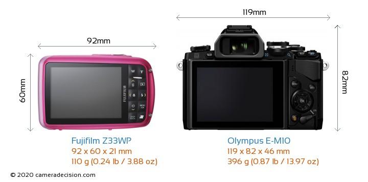 Fujifilm Z33WP vs Olympus E-M10 Camera Size Comparison - Back View
