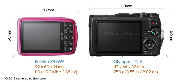 Fujifilm Z33WP vs Olympus TG-5 Camera Size Comparison - Back View
