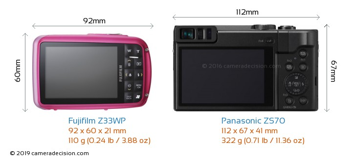 Fujifilm Z33WP vs Panasonic ZS70 Camera Size Comparison - Back View