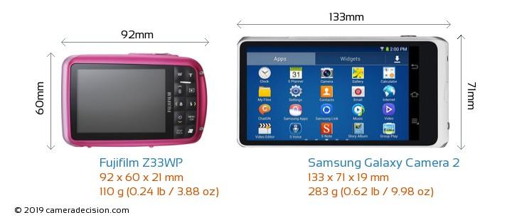 Fujifilm Z33WP vs Samsung Galaxy Camera 2 Camera Size Comparison - Back View