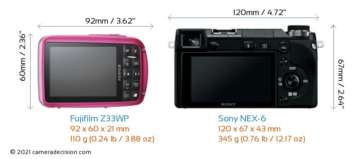 Fujifilm Z33WP vs Sony NEX-6 Camera Size Comparison - Back View