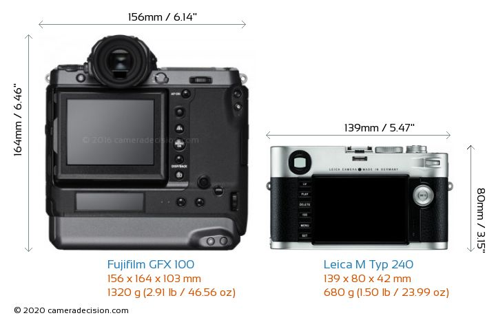 Fujifilm GFX 100 vs Leica M Typ 240 Camera Size Comparison - Back View