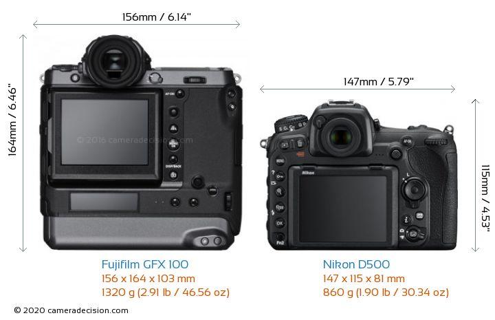 Fujifilm GFX 100 vs Nikon D500 Camera Size Comparison - Back View