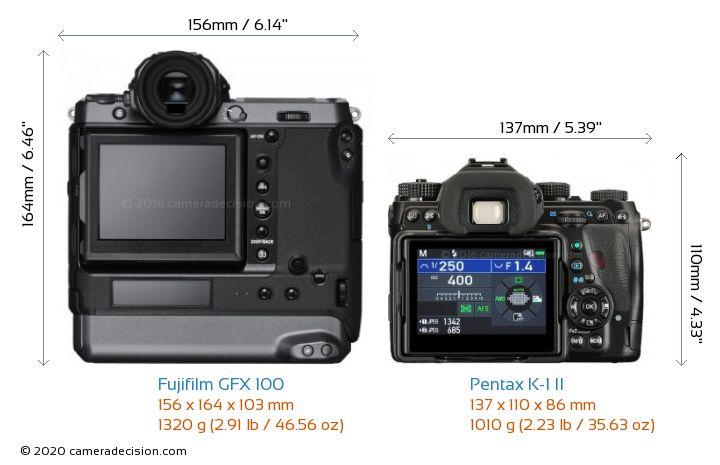 Fujifilm GFX 100 vs Pentax K-1 II Camera Size Comparison - Back View