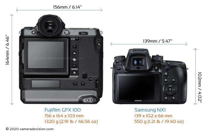 Fujifilm GFX 100 vs Samsung NX1 Camera Size Comparison - Back View