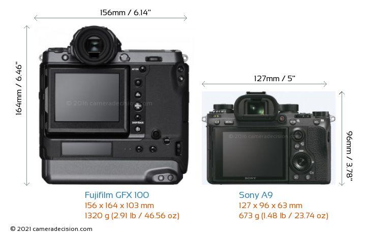 Fujifilm GFX 100 vs Sony A9 Camera Size Comparison - Back View