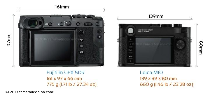 Fujifilm GFX 50R vs Leica M10 Camera Size Comparison - Back View