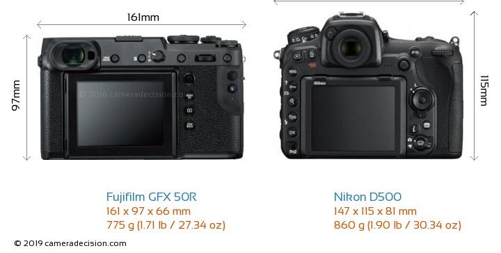 Fujifilm GFX 50R vs Nikon D500 Camera Size Comparison - Back View