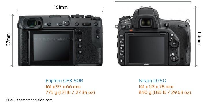 Fujifilm GFX 50R vs Nikon D750 Camera Size Comparison - Back View