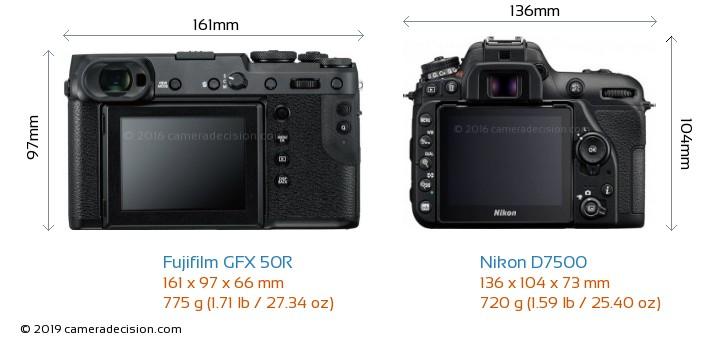 Fujifilm GFX 50R vs Nikon D7500 Camera Size Comparison - Back View