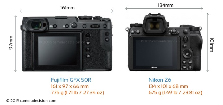 Fujifilm GFX 50R vs Nikon Z6 Camera Size Comparison - Back View