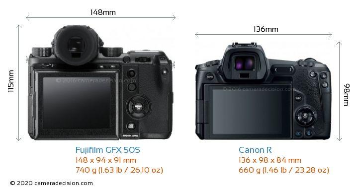 Fujifilm GFX 50S vs Canon R Camera Size Comparison - Back View