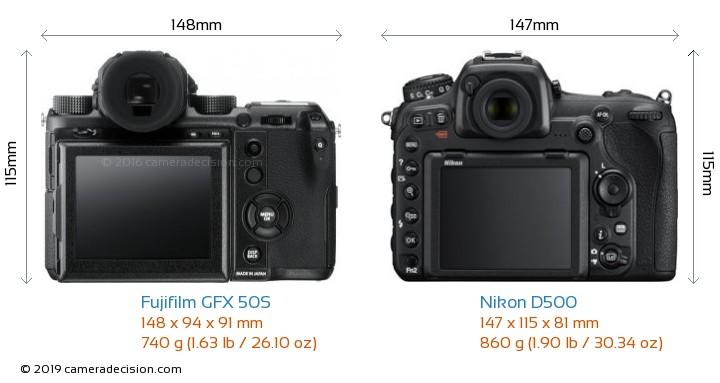 Fujifilm GFX 50S vs Nikon D500 Camera Size Comparison - Back View