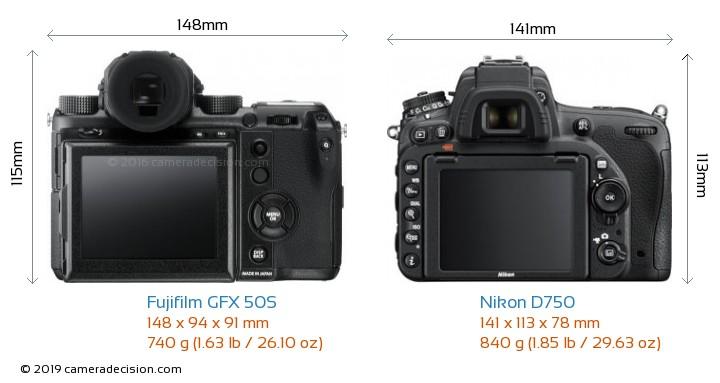 Fujifilm GFX 50S vs Nikon D750 Camera Size Comparison - Back View