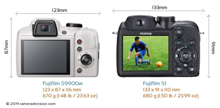 Fujifilm S9900w vs Fujifilm S1 Camera Size Comparison - Back View