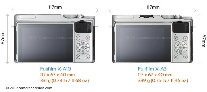 Fujifilm X-A10 vs Fujifilm X-A3 Camera Size Comparison - Back View
