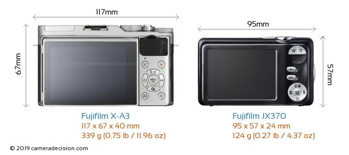Fujifilm X-A3 vs Fujifilm JX370 Camera Size Comparison - Back View