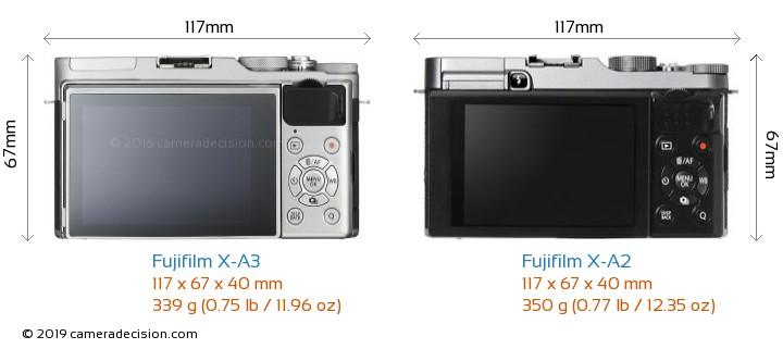 Fujifilm X-A3 vs Fujifilm X-A2 Camera Size Comparison - Back View