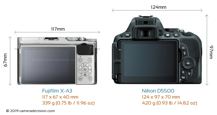 Fujifilm X-A3 vs Nikon D5500 Camera Size Comparison - Back View