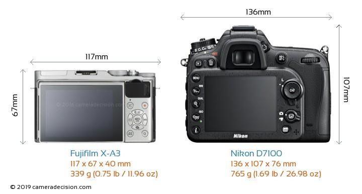 Fujifilm X-A3 vs Nikon D7100 Camera Size Comparison - Back View