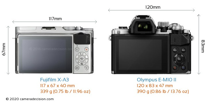 Fujifilm X-A3 vs Olympus E-M10 II Camera Size Comparison - Back View