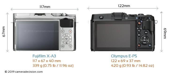 Fujifilm X-A3 vs Olympus E-P5 Camera Size Comparison - Back View