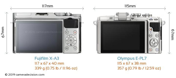 Fujifilm X-A3 vs Olympus E-PL7 Camera Size Comparison - Back View