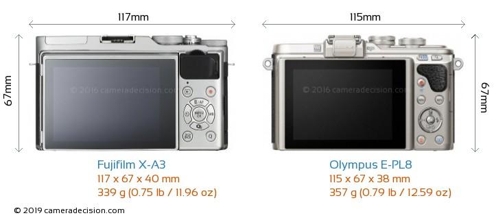 Fujifilm X-A3 vs Olympus E-PL8 Camera Size Comparison - Back View