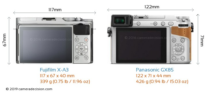 Fujifilm X-A3 vs Panasonic GX85 Camera Size Comparison - Back View