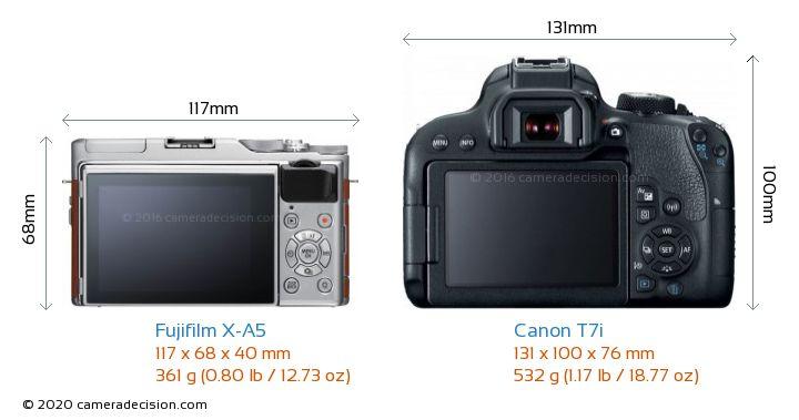 Fujifilm X-A5 vs Canon T7i Camera Size Comparison - Back View