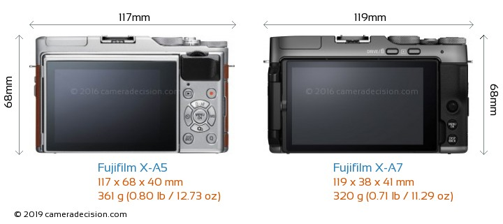 Fujifilm X-A5 vs Fujifilm X-A7 Camera Size Comparison - Back View