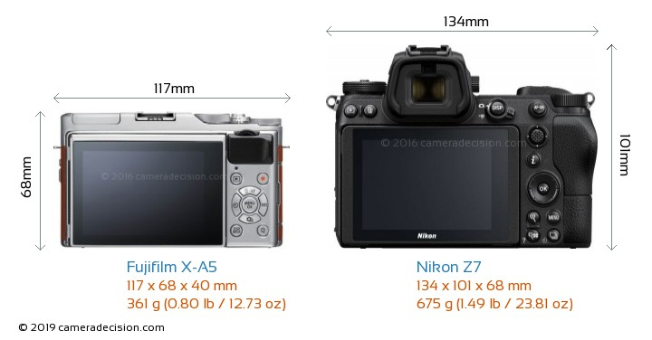 Fujifilm X-A5 vs Nikon Z7 Camera Size Comparison - Back View